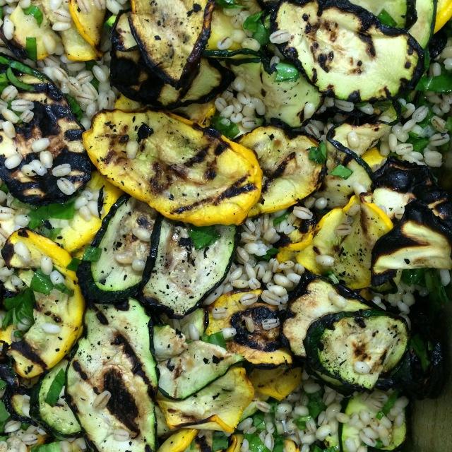 grilled courgette, pearl barley, sorrel, pine nut, lemon salad