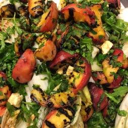 grilled peach, mozzarella, chilli, rocket, summer salad