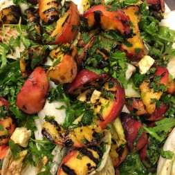grilled peach, mozzarella, chilli, rocket, summer salad