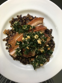 Braised Pork Belly, Puy Lentils, Hazelnut & Kale Salsa