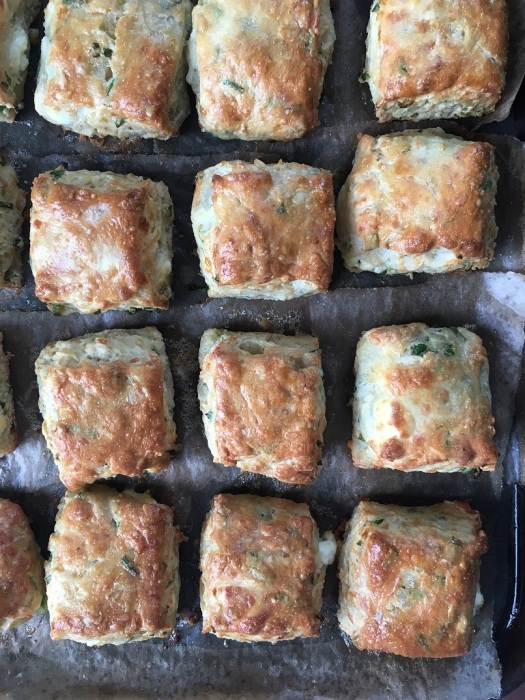 feta, chive, soured cream, scones, cheese, biscuits, flaky