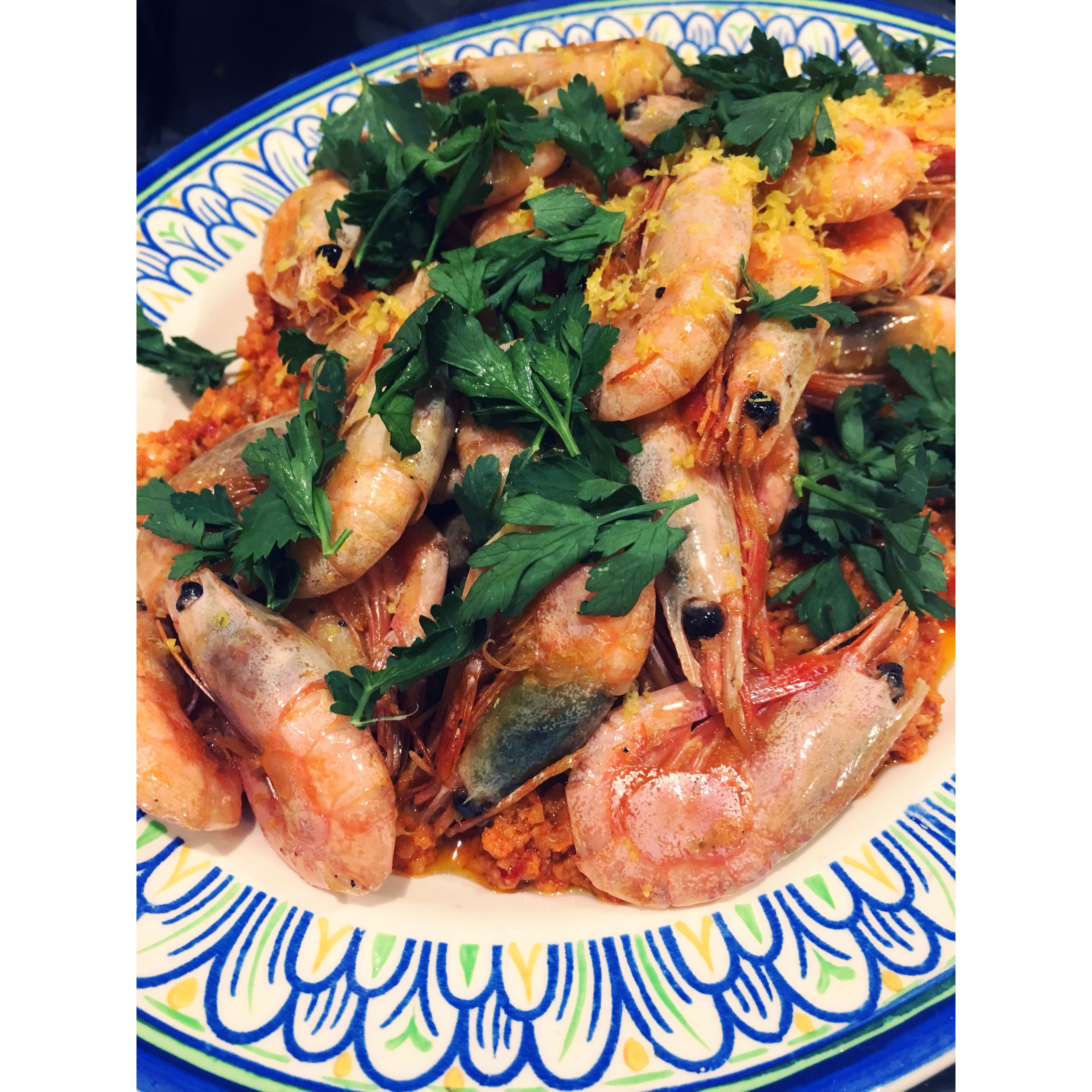 grilled prawns with romesco sauce, lemon & parsley